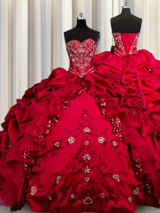 Top Selling Embroidery Sequins Red Ball Gowns Beading and Appliques and Ruffles Quince Ball Gowns Lace Up Taffeta Sleeveless Floor Length