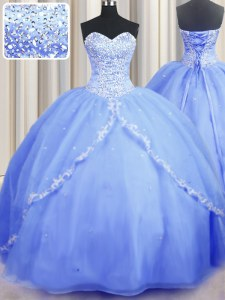 Wonderful Baby Blue Lace Up 15 Quinceanera Dress Beading and Appliques Sleeveless With Brush Train
