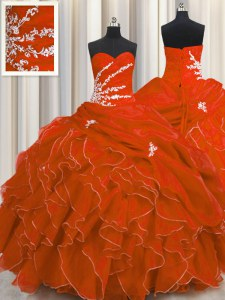 Flirting Red Sweetheart Neckline Beading and Appliques and Ruffles Sweet 16 Dress Sleeveless Lace Up