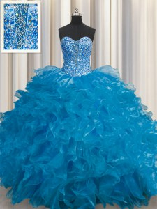 Hot Selling See Through Sweetheart Sleeveless Organza 15 Quinceanera Dress Beading and Ruffles Lace Up