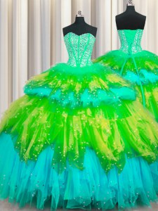 Beautiful Bling-bling Visible Boning Sleeveless Floor Length Beading and Ruffles and Ruffled Layers and Sequins Lace Up Sweet 16 Dresses with Multi-color