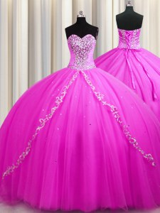 Dramatic Sweep Train Floor Length Rose Pink 15th Birthday Dress Sweetheart Sleeveless Lace Up