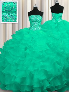 High Class Turquoise Organza Lace Up Quinceanera Gown Sleeveless Sweep Train Beading and Ruffles