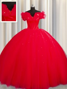 Elegant Off The Shoulder Red Tulle Lace Up Quince Ball Gowns Short Sleeves With Train Court Train Ruching