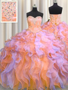 Ball Gowns Sweet 16 Dresses Multi-color Sweetheart Organza Sleeveless Floor Length Lace Up