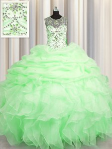 See Through Ball Gowns Scoop Sleeveless Organza Floor Length Lace Up Beading and Ruffles and Pick Ups Quinceanera Dresses