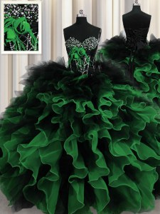 Multi-color Sweetheart Neckline Beading and Ruffles Quinceanera Dress Sleeveless Lace Up