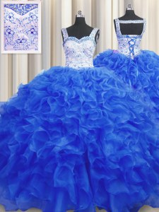 Fitting Royal Blue Lace Up Quinceanera Dresses Beading Sleeveless Floor Length