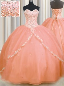 New Arrival Peach Sleeveless Organza Brush Train Lace Up Ball Gown Prom Dress for Military Ball and Sweet 16 and Quinceanera
