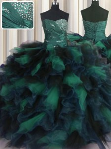 Fabulous Sleeveless Beading and Ruffles Lace Up Ball Gown Prom Dress