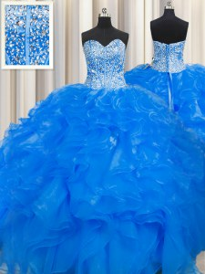 Visible Boning Beaded Bodice Blue Ball Gowns Organza Sweetheart Sleeveless Beading and Ruffles Floor Length Lace Up 15th Birthday Dress