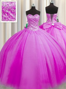 Really Puffy Sleeveless Floor Length Beading Lace Up Quinceanera Dress with Fuchsia