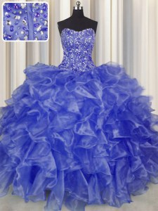 Perfect Visible Boning Blue Strapless Neckline Beading and Ruffles Sweet 16 Quinceanera Dress Sleeveless Lace Up