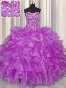 Clearance Visible Boning Strapless Sleeveless Quinceanera Gowns Floor Length Beading and Ruffles Purple Organza
