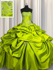 Floor Length Lace Up Quinceanera Dresses Olive Green for Military Ball and Sweet 16 and Quinceanera with Beading and Pick Ups