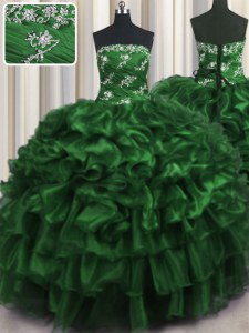 Super Dark Green Sleeveless Appliques and Ruffles and Ruffled Layers Floor Length Ball Gown Prom Dress