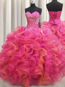 Sleeveless Floor Length Beading and Ruffles Lace Up Quinceanera Gown with Hot Pink