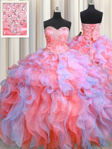 Exquisite Multi-color Sweetheart Neckline Beading and Appliques and Ruffles 15 Quinceanera Dress Sleeveless Lace Up