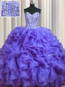 Free and Easy Bling-bling With Train Lavender 15 Quinceanera Dress Sweetheart Sleeveless Brush Train Lace Up