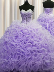 Rolling Flowers Brush Train Lavender Sleeveless Beading and Pick Ups Lace Up Ball Gown Prom Dress