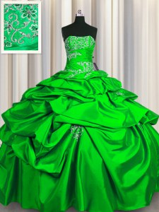 Stunning Pick Ups Green Sleeveless Taffeta Lace Up Quince Ball Gowns for Military Ball and Sweet 16 and Quinceanera
