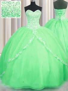 Sweetheart Lace Up Beading and Appliques Ball Gown Prom Dress Brush Train Sleeveless