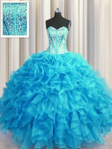Simple Visible Boning Bling-bling Sleeveless Beading and Ruffles Lace Up Quinceanera Dresses