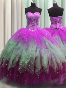 Noble Visible Boning Multi-color Tulle Lace Up 15th Birthday Dress Sleeveless Floor Length Beading and Ruffles and Sequins