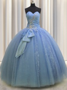 Sleeveless Tulle Floor Length Lace Up 15th Birthday Dress in Light Blue with Beading and Sequins and Bowknot