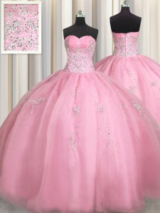 Traditional Rose Pink Sweetheart Neckline Beading and Appliques Quinceanera Gown Sleeveless Zipper