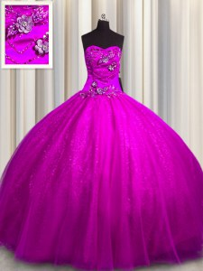 Customized Sequined Sleeveless Beading and Appliques Lace Up Ball Gown Prom Dress