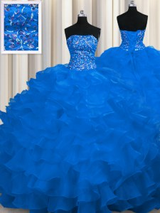 Popular Royal Blue 15th Birthday Dress Strapless Sleeveless Sweep Train Lace Up