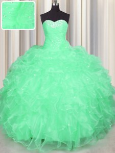 Fashionable Apple Green Sweet 16 Quinceanera Dress Military Ball and Sweet 16 and Quinceanera and For with Beading and Ruffles Sweetheart Sleeveless Lace Up