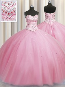 Sweet Bling-bling Big Puffy Rose Pink Sweetheart Neckline Beading Quince Ball Gowns Sleeveless Lace Up