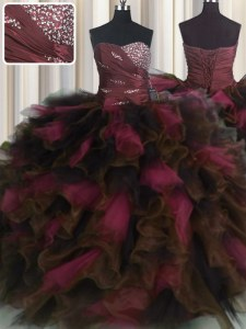 Discount Floor Length Lace Up Quince Ball Gowns Wine Red for Military Ball and Sweet 16 and Quinceanera with Beading and Ruffles and Ruffled Layers