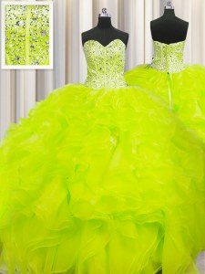 Dynamic Visible Boning Beaded Bodice Yellow Sweetheart Lace Up Beading and Ruffles Quinceanera Gown Sleeveless