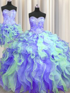 Stylish Three Piece Sleeveless Lace Up Floor Length Beading and Appliques and Ruffles Quinceanera Gown