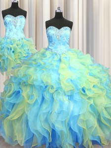 Three Piece Sweetheart Sleeveless Organza 15th Birthday Dress Beading and Appliques and Ruffles Lace Up