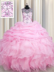 See Through Rose Pink Sleeveless Beading and Ruffles and Pick Ups Floor Length Quinceanera Dress