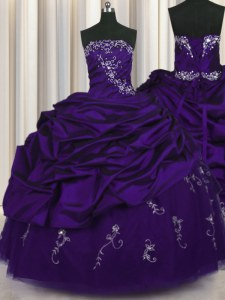 Purple Taffeta Lace Up Ball Gown Prom Dress Sleeveless Floor Length Beading and Embroidery and Pick Ups