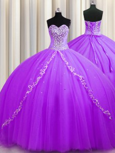 Sweep Train Purple Sleeveless Beading Lace Up Sweet 16 Dress