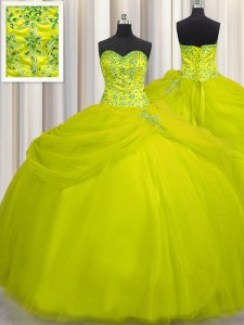 Flirting Really Puffy Sleeveless Beading Lace Up Quinceanera Dresses