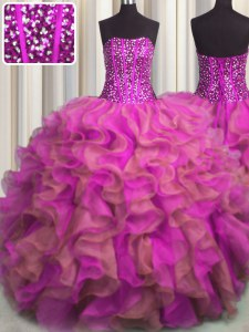 Flirting Visible Boning Beaded Bodice Organza Strapless Sleeveless Lace Up Beading and Ruffles Quinceanera Gowns in Multi-color