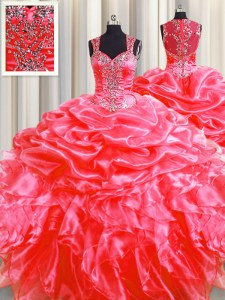 Pick Ups Zipper Up See Through Back Coral Red Sleeveless Sweep Train Beading and Ruffles Floor Length Quinceanera Gown