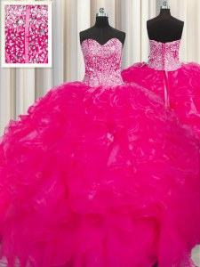 Visible Boning Beaded Bodice Sweetheart Sleeveless Lace Up Quinceanera Gown Hot Pink Organza