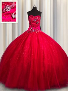 Great Sequined Red Sleeveless Floor Length Beading and Appliques Lace Up Quinceanera Dress