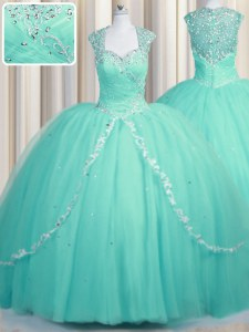 Romantic Aqua Blue Tulle Zipper Sweetheart Cap Sleeves Quinceanera Dresses Brush Train Beading and Appliques