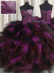 Multi-color Sleeveless Beading and Ruffles and Ruffled Layers Floor Length Sweet 16 Dress