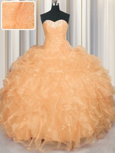 Floor Length Lace Up 15 Quinceanera Dress Orange for Military Ball and Sweet 16 and Quinceanera with Beading and Ruffles