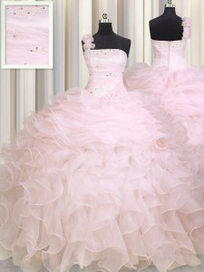One Shoulder Sleeveless Zipper Quince Ball Gowns Baby Pink Organza